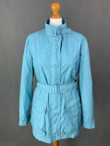 ARMANI Ladies Blue Rain Mac JACKET Size UK 14