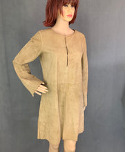 Load image into Gallery viewer, NICOLE FARHI Ladies Brown Suede Leather DRESS - Size Small - S