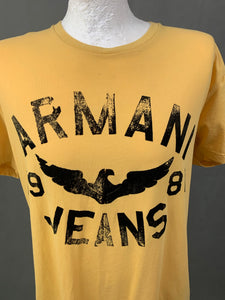 ARMANI Mens Regular Fit Yellow T-SHIRT - Size 2XL XXL - TSHIRT TEE