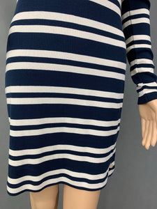 HENRI LLOYD Ladies Cotton LS Striped Jersey Dress - Size XS - UK 8
