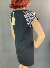 Load image into Gallery viewer, New MICHAEL KORS Dark Grey Embellished Derby DRESS - Size UK 10 - IT 44 BNWT