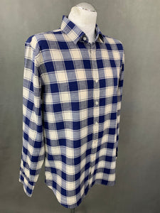 CANALI Mens Linen Blend Blue Check Pattern SHIRT - Size XL Extra Large