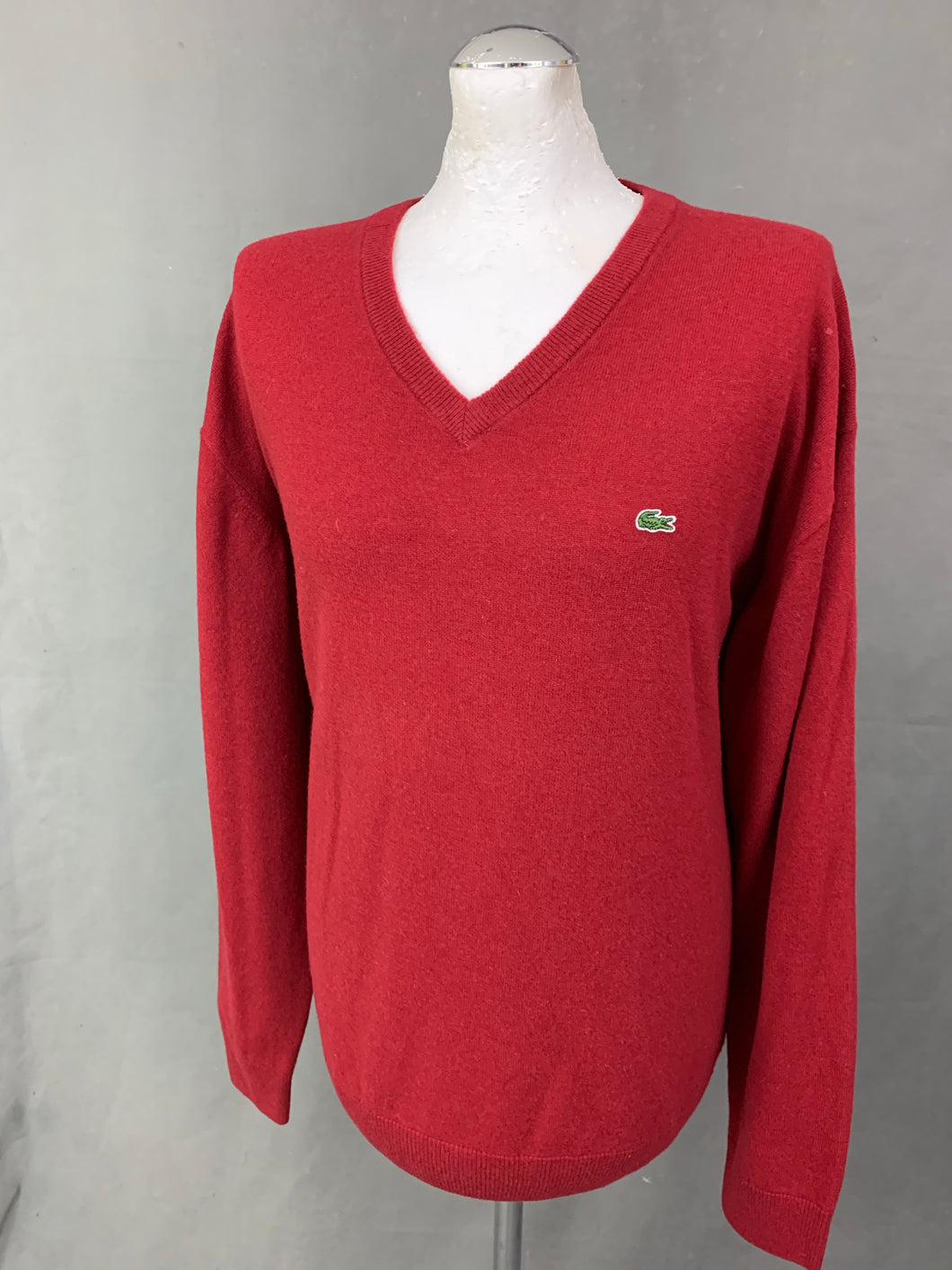 LACOSTE Mens Red Pure Virgin Wool V-Neck JUMPER LACOSTE Size 8 - 3XL XXXL