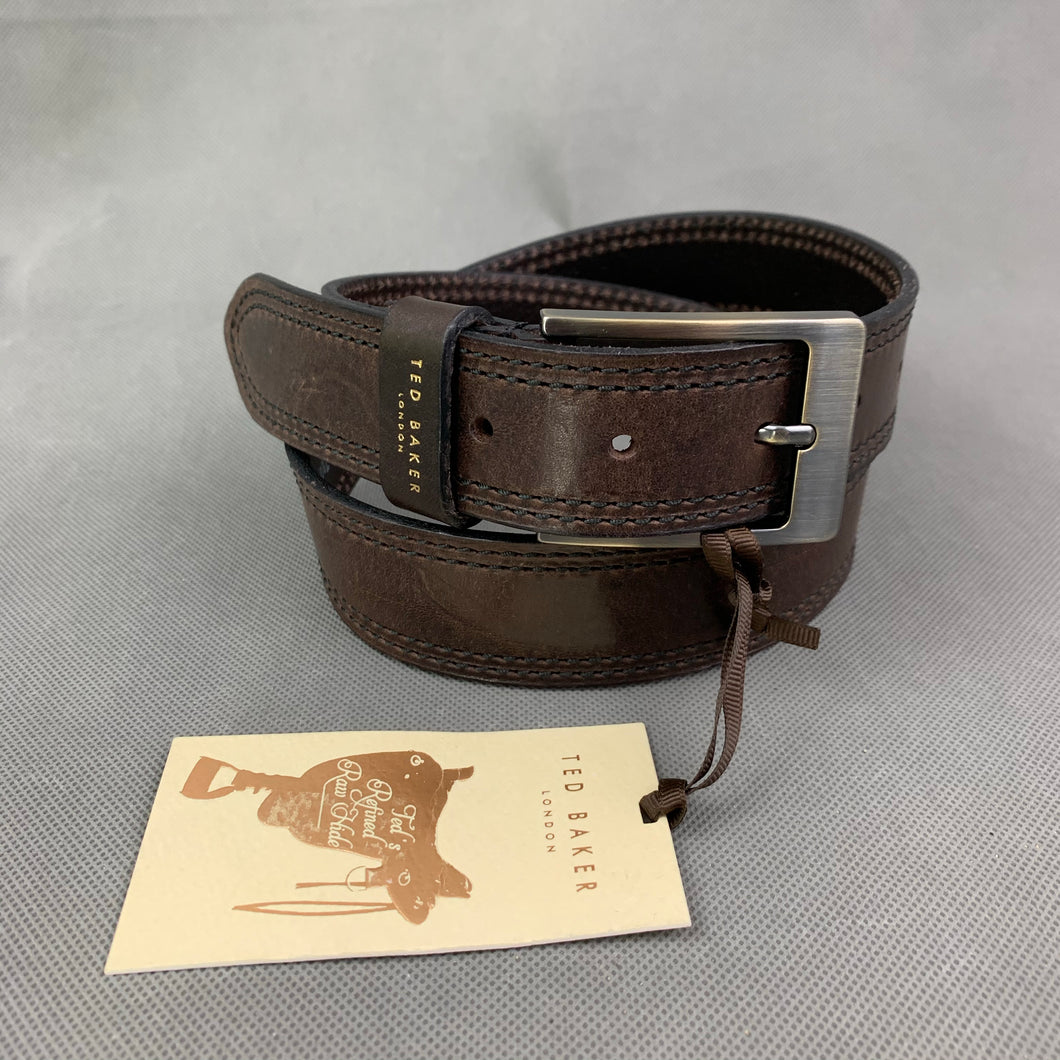 New TED BAKER London Brown 100% Italian Leather BELT - Size 30