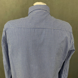 ARMANI JEANS Mens Blue Checked Long Sleeved SHIRT - Size L Large