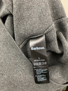 BARBOUR Mens Grey V-Neck JUMPER - Size Large L