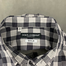 "Load image into Gallery viewer, DOLCE & GABBANA Mens Grey Checked SHIRT Size 16.5"" Collar - XL"