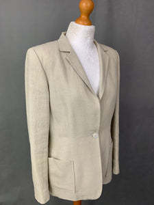 GIBIERRE GBR Ladies Beige 100% Linen BLAZER / JACKET Size IT 42 - UK 10