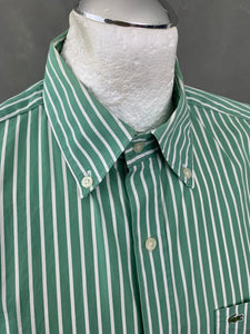 LACOSTE Mens Green Striped SHIRT - Lacoste Size 40 Medium M