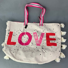 Load image into Gallery viewer, New VICTORIA'S SECRET Large LOVE Canvas Beach / Shopper / Tote BAG - BNWT