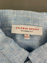 Load image into Gallery viewer, ORLEBAR BROWN Mens Blue MORTON Linen Tailored Fit SHIRT Size XXL 2XL