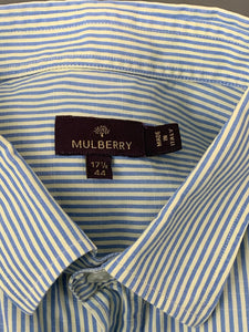 "MULBERRY Mens Blue Striped SHIRT Size 17.5"" Collar"