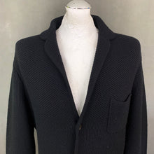 Load image into Gallery viewer, AQUASCUTUM London Mens Black Wool Knitted Blazer - Size L - Large