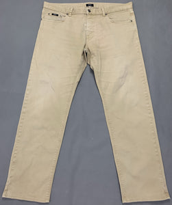 "HUGO BOSS Mens MAINE Beige Denim Regular Fit JEANS Size Waist 38"" - Leg 31"""
