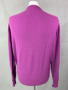 JOHN SMEDLEY Mens Purple 100% MERINO WOOL V-Neck JUMPER Size LARGE L