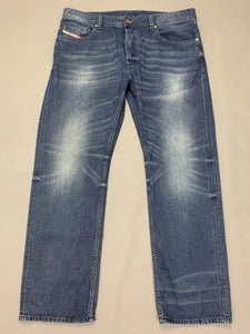 "DIESEL Mens LARKEE-RELAXED Blue Denim Straight JEANS Size Waist 36"" - Leg 30"""