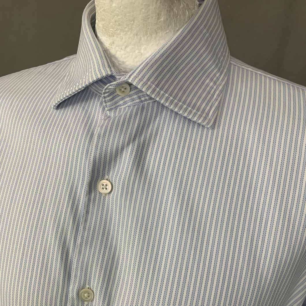 DUNHILL London Blue Striped Engineered Fit SHIRT Size 16.5