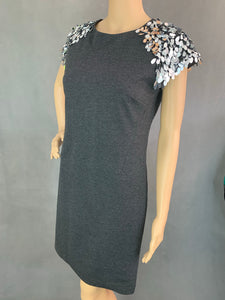 New MICHAEL KORS Dark Grey Embellished Derby DRESS - Size UK 10 - IT 44 BNWT