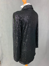 Load image into Gallery viewer, New CBR Chic Boutique Rose Glitzy Sequinned Black Evening Jacket - Size Small S