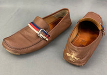 Load image into Gallery viewer, GUCCI Mens Brown Leather BEE Heel LOAFERS / SHOES Size 10 - EU 44