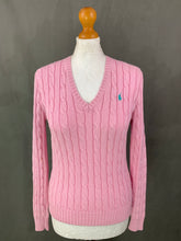 Load image into Gallery viewer, RALPH LAUREN Ladies Pink Cable Knit JUMPER Size S Small