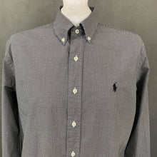 Load image into Gallery viewer, RALPH LAUREN Mens Black Check Pattern SHIRT Size L - Large