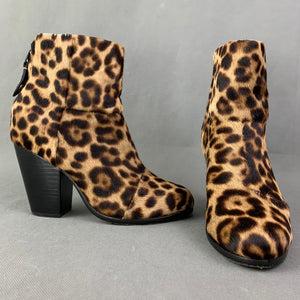 RAG & BONE LEOPARD PRINT PONY SKIN HEELED BOOTS Size EU 36 - UK 3 - US 6