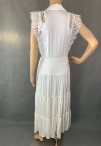 SANDRO Ladies MAXIME White Two-Toned Tiered Maxi DRESS Size FR 36 - UK 8