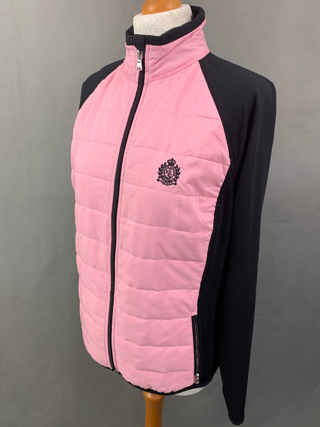 LRL RALPH LAUREN Ladies Black & Pink QUILTED JACKET Size L LARGE