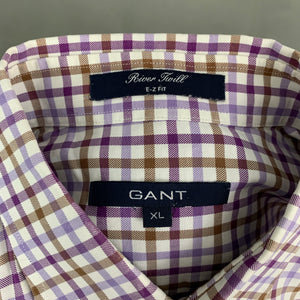 GANT Mens RIVER TWILL E-Z FIT Purple Checked SHIRT - Size XL Extra Large