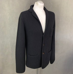 AQUASCUTUM London Mens Black Wool Knitted Blazer - Size L - Large