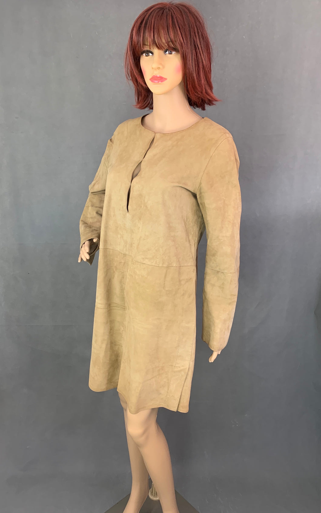 NICOLE FARHI Ladies Brown Suede Leather DRESS - Size Small - S
