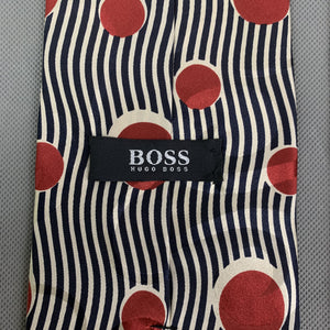 HUGO BOSS Mens Vintage Wavey Lines & Circle Pattern TIE - Made in Italy