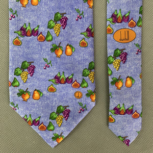 DUNHILL Mens Blue 100% SILK Still Life Fruit Graphic TIE - Made in Italy