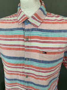 TOMMY HILFIGER Mens Linen Blend Striped SHIRT - Size XL Extra Large