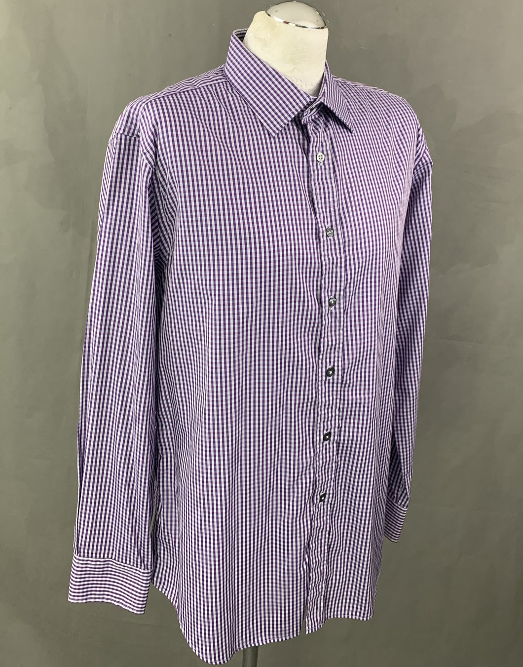 PAUL SMITH London Mens Purple Checked SHIRT Size 17