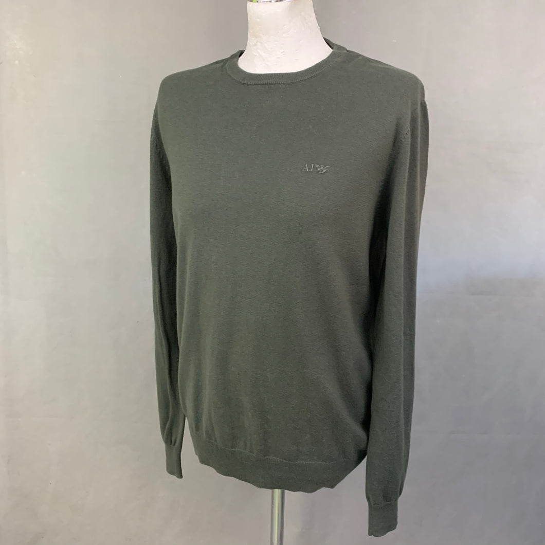 ARMANI JEANS Mens Green Wool Blend JUMPER Size XL Extra Large