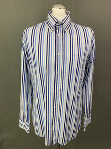 HACKETT Mens 100's 2 Ply Cotton Blue Striped SHIRT Size LARGE L