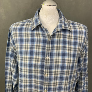 CANALI Mens Blue 100% Linen Check Pattern SHIRT - Size XL Extra Large