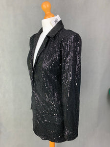 New CBR Chic Boutique Rose Glitzy Sequinned Black Evening Jacket - Size Small S