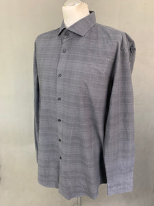 "HUGO BOSS Mens Grey Check Pattern SHIRT - Size 45"" Chest - 17.75"" Collar"