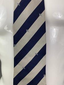 BURBERRY LONDON Mens Grey & Blue 100% SILK TIE with BURBERRY BRANDING