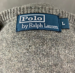 POLO RALPH LAUREN Mens Grey 100% Lambswool V-Neck JUMPER Size L LARGE
