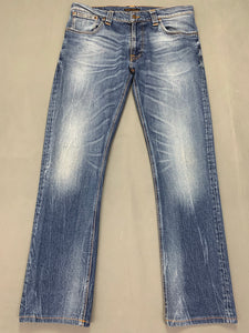 "NUDIE JEANS CO Mens THIN FINN GREYBLUE SHADES Denim JEANS Waist 36"" - Leg 31"""