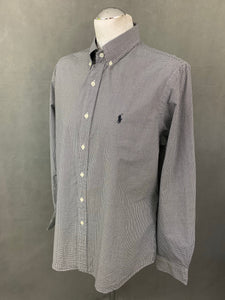 RALPH LAUREN Mens Black Check Pattern SHIRT Size L - Large