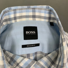 Load image into Gallery viewer, HUGO BOSS Mens Blue Check LUKA Short Sleeved SHIRT - Size M Medium