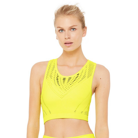 Alo Lark Crop Top in Highlighter Heather