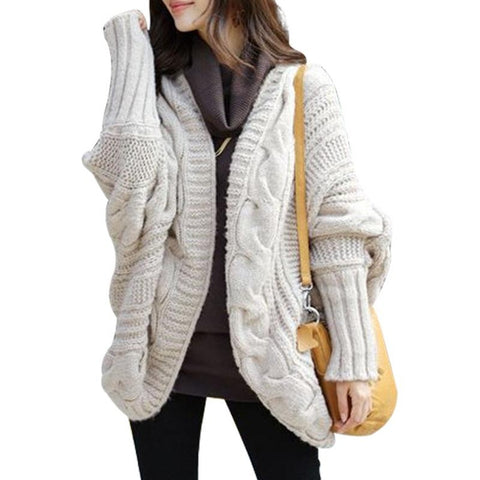 coarse long batwing sleeve cardigan