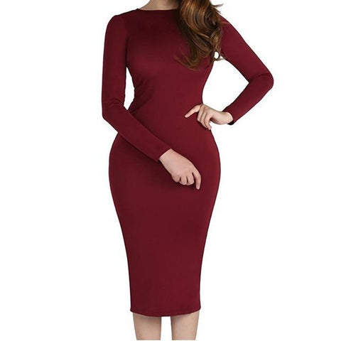 Back Full Zipper Bodycon Dress