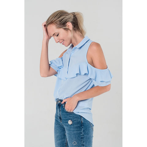 Cold shoulder ruffled shirt in blue